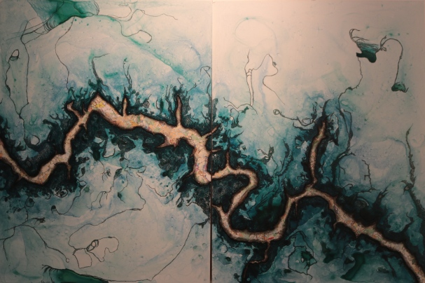 "Occoquan (2015), 16""x40"", mixed media"