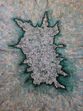 "Terrain 1 (2015), 30"" x 40"", mixed media"