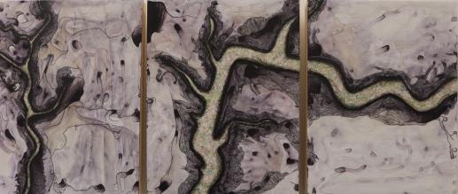 """Clarion (2015), 14""""x33"""", mixed media"""