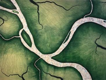"""Three Rivers (2017), 30"""" x 40"""", mixed media"""